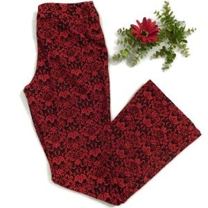 Fashion Bug Stretch Red and Black Flocked Pants